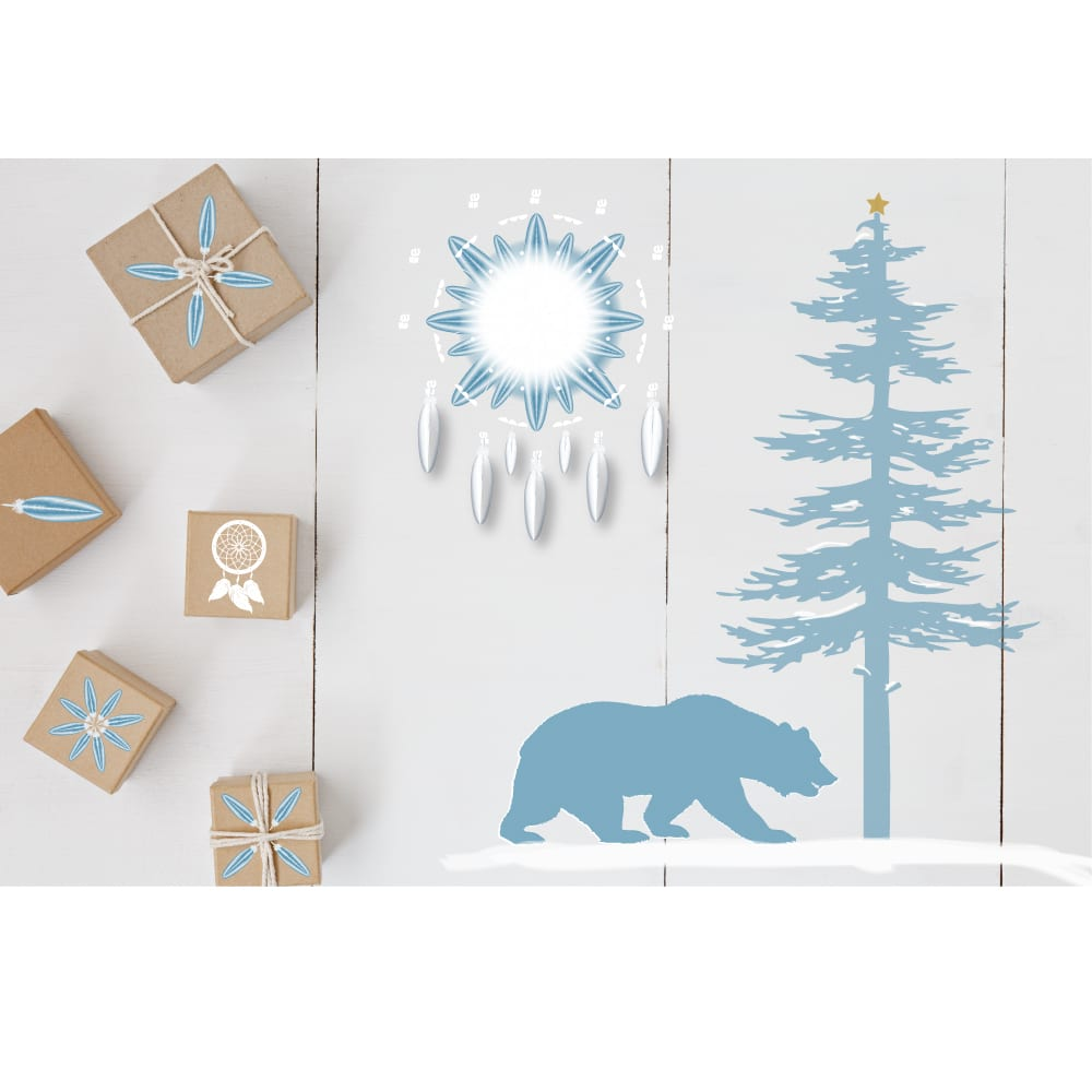 Bear christmas card, first nations christmas card, native christmas card
