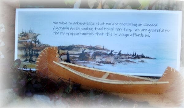 Land acknowledgement plaques honour the unceded Algonquin land on which we live.