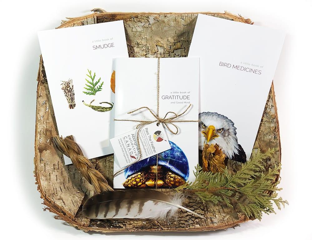 a little book of bird medicines, a little book of smudge, a little book of gratitude, pass the feather, indigenartsy, book set