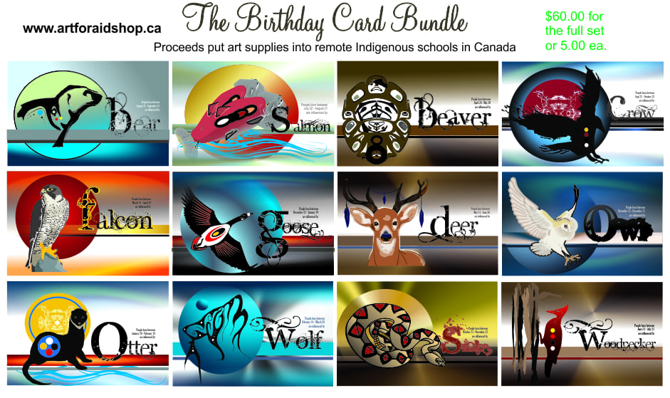The Birthday Card Bundle contains 12 animal totem cards with interesting descriptions that correspond with an animal representative of each calendar months