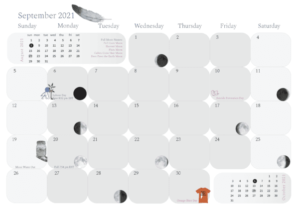 2021 calendar, pass the feather, moon water, moon time