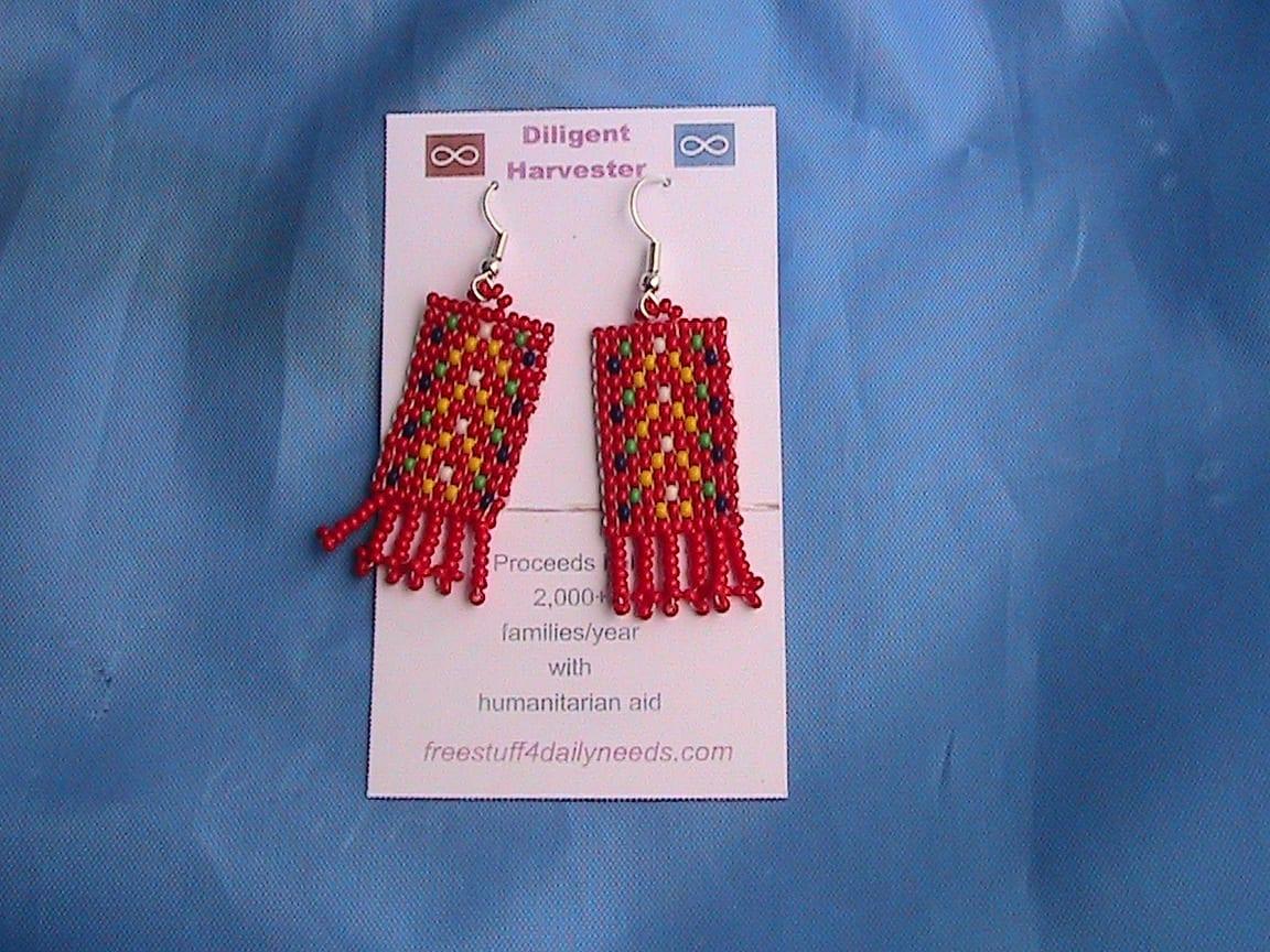 metis sash beaded earrings