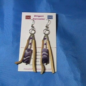 purple arrow stone earrings