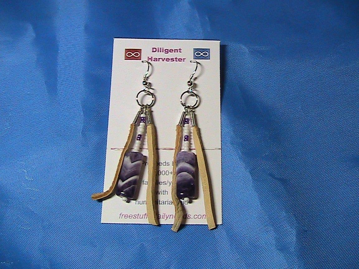 purple arrow stone earrings