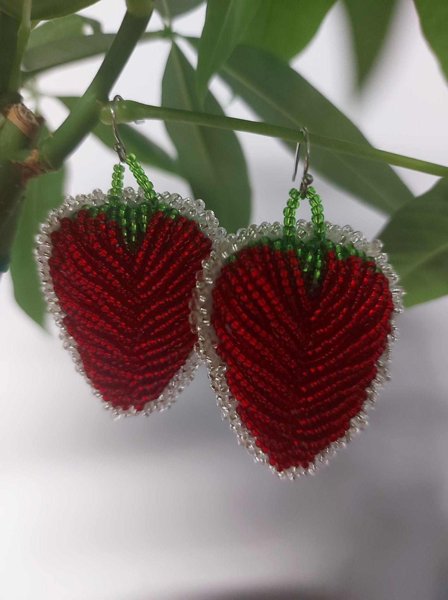 Raised Beaded Strawberry Earrings