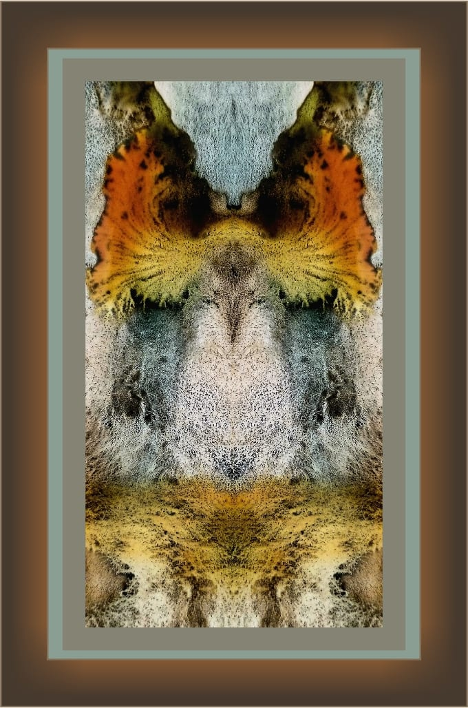 An abstract standing eagle appears to have fire wings