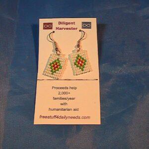 beaded diamond earrings green